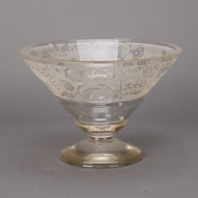 Photo of antique Large Art Deco Etched Glass Pedestal Bowl