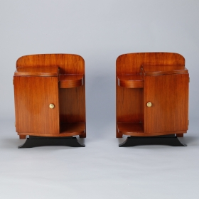 Photo of antique Pair Art Deco Side Cabinets with Ebonised Base