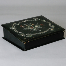 Photo of antique 19th Century Papier Mache and Mother of Pearl Box