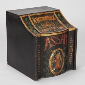 Photo of antique Extra Large 19th Century H.W. Chubbuck & Co. Assam Tole Tea Tin