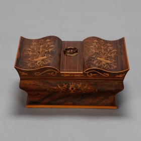 Photo of antique 19th Century Mahogany Sewing Box with Decorative Inlay