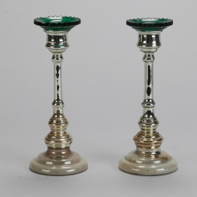 Photo of antique Pair Mercury Glass Candlesticks With Green Bobeches