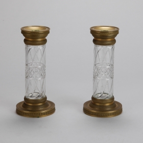 Photo of antique 19th Century Pair Bronze and Cut Crystal Candlesticks or Vases