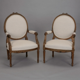 Photo of antique Pair Louis XVI Oval Back Gilded Frame Fauteuils