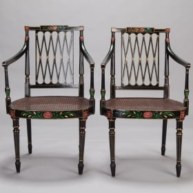 Photo of antique Set of 6 Swedish Ebonised and Painted Caned Arm Chairs