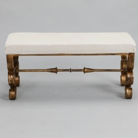 Photo of antique Upholstered Bench with Scrolled Gilt Metal Legs