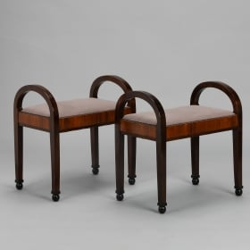 Photo of antique Pair of Art Deco Upholstered Benches