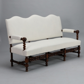 Photo of antique Large French Camel Back Settee with Barley Twist Frame