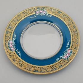 Photo of antique Bavarian Glass Plate with Enamel Overlay