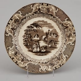 Photo of antique 19th Century Brown and White Transfer Ware Plate