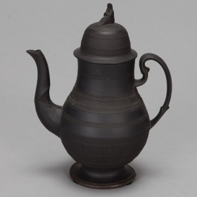 Photo of antique 19th Century Tall Black Basalt Coffee Pot