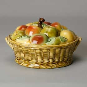 Photo of antique French Majolica Covered Bowl With Fruit Design On Lid