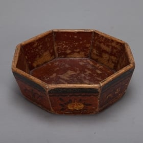 Photo of antique Chinese Wooden Octagonal Bowl