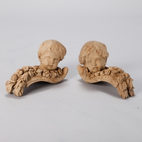 Photo of antique Pair 19th Century Bleached Oak Carved Cherubs