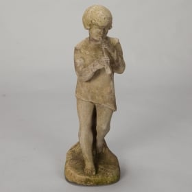 Photo of antique English Bromsgrove Guild Stone Garden Statue of a Boy With Pipe