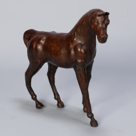 Photo of antique Large Vintage Leather Covered Horse