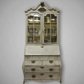 Photo of antique Swedish Painted Bureau Bookcase