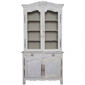 Photo of antique Painted Blue Gray French Pine Buffet Deux Corps with Chicken Wire in Doors