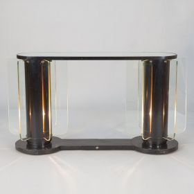 Photo of antique French Art Deco Console with Light Up Supports and Glass Inserts