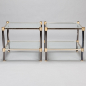 Photo of antique Pair Chrome Brass and Glass Side Tables with Black Enamel Legs