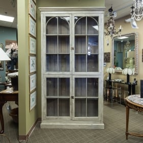 Photo of antique Tall French Painted and Glazed Shallow Display Cabinet