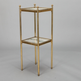 Photo of antique Mid Century Italian Neoclassic Marble and Brass Side Table