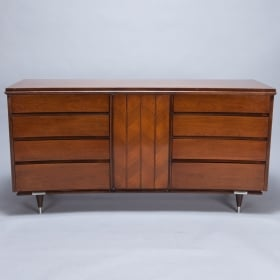 Photo of antique Mid Century Scandinavian Eight Drawer Serpentine Console