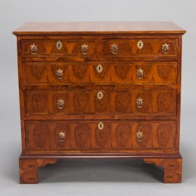 Photo of antique 19th Century English Chest of Drawers With Oyster Veneer