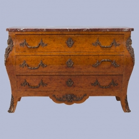 Photo of antique Burr Elm and Ormolu Marble Top Chest of Drawers