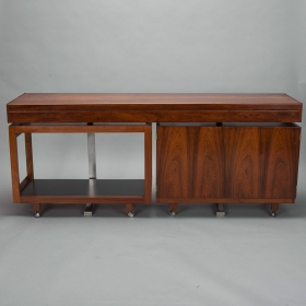 Photo of antique Danish Mid Century Rosewood Console with Coordinating Trolley and Bar Cabinet