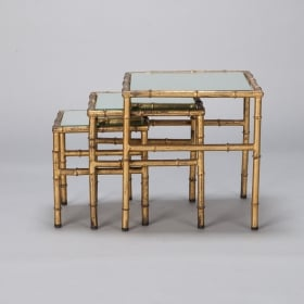 Photo of antique Set Three Faux Bamboo Gilt Metal Nesting Tables