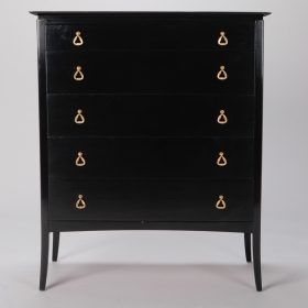 Photo of antique Mid Century Glazed Ebonised Chest of Drawers