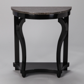 Photo of antique French Demi Lune Ebonised Console With Marble Top