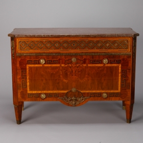 Photo of antique Swedish Marble Topped Chest With Extensive Inlay And Brass Detailing
