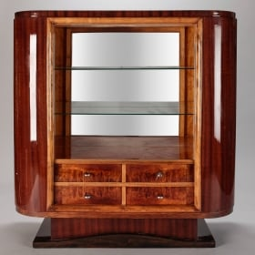 Photo of antique French Art Deco Cabinet with Open Glass Shelves