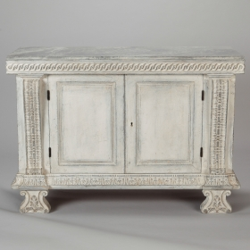 Photo of antique Italian Two Door Chest With Faux Painted Top and Carved Details