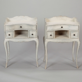Photo of antique Pair French White Bedside Tables