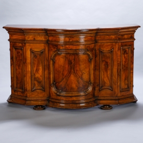 Photo of antique 19th Century Burl Walnut Cabinet With Rounded Front and Original Keys