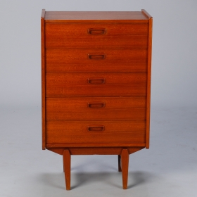 Photo of antique Small Mid Century Walnut Chest on Tapered Legs