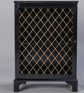 Photo of antique Regency Style Cabinet with Ebonised Finish and Brass Grill