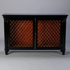 Photo of antique Ebonised English Sideboard with Brass Grills