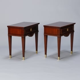 Photo of antique Pair Regency Style Side Tables in Polished Mahogany and Brass