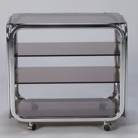 Photo of antique Mid Century Polished Chrome and Smoked Glass Trolley