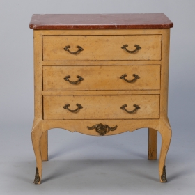 Photo of antique Small French Painted Chest with Marble Top and Bronze Embellishments