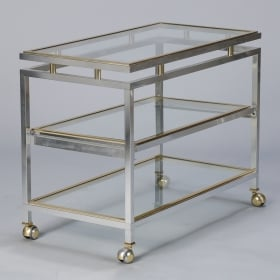 Photo of antique Mid Century Chrome Brass and Glass Serving Trolley in Style of Maison Jansen