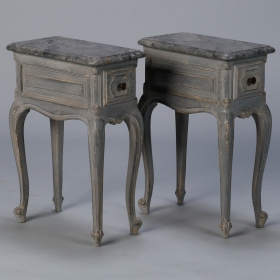 Photo of antique Pair Small French One Drawer Blue Side Tables