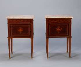 Photo of antique Pair Directoire Style Mahogany Cabinets with Marble Tops