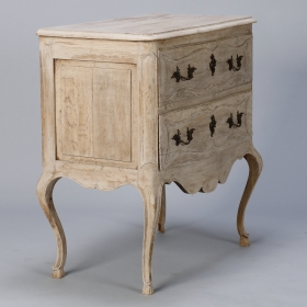 Photo of antique French Small Bleached Oak Chest with Scalloped Apron