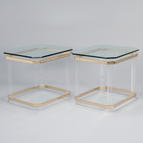 Photo of antique Pair Mid Century Lucite Brass and Glass Side Tables