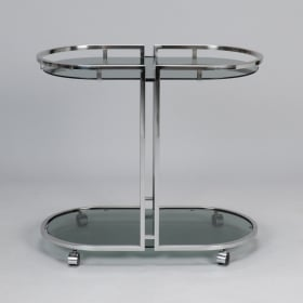 Photo of antique French Mid Century Chrome and Glass Bar Trolley